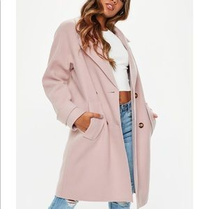 NWT Missguided Blush Cocoon Double Breast Coat 6